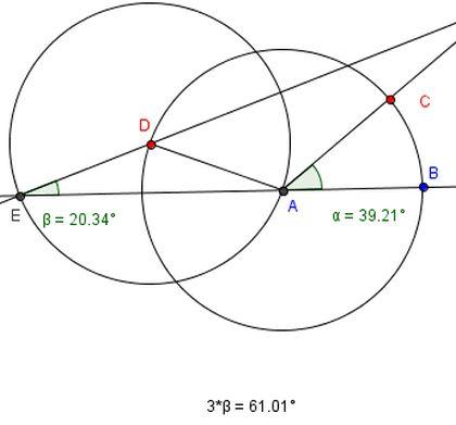 Kulman jako kolmeen yhtä suureen osaan (geometrinen piirtäminen)