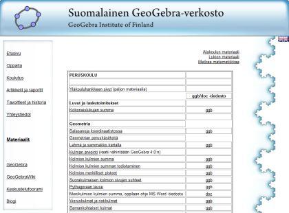 Suomalaisen GeoGebra-verkoston tuottamia sovelluksia ja muita oppimisen avuksi tuotettuja materiaaleja yläkoulun matematiikkaa, fysiikkaan ja kemiaan