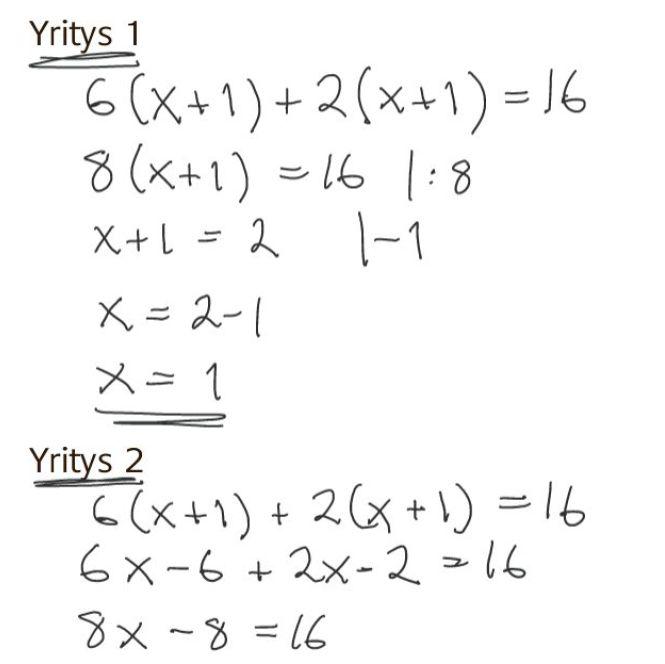 Menikö yhtälönratkaisu oikein (1)?