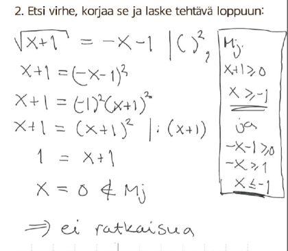 Menikö yhtälönratkaisu oikein (2)?