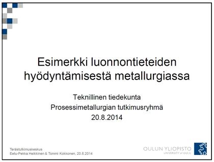 Luonnontieteiden hyödyntämisestä metallurgiassa