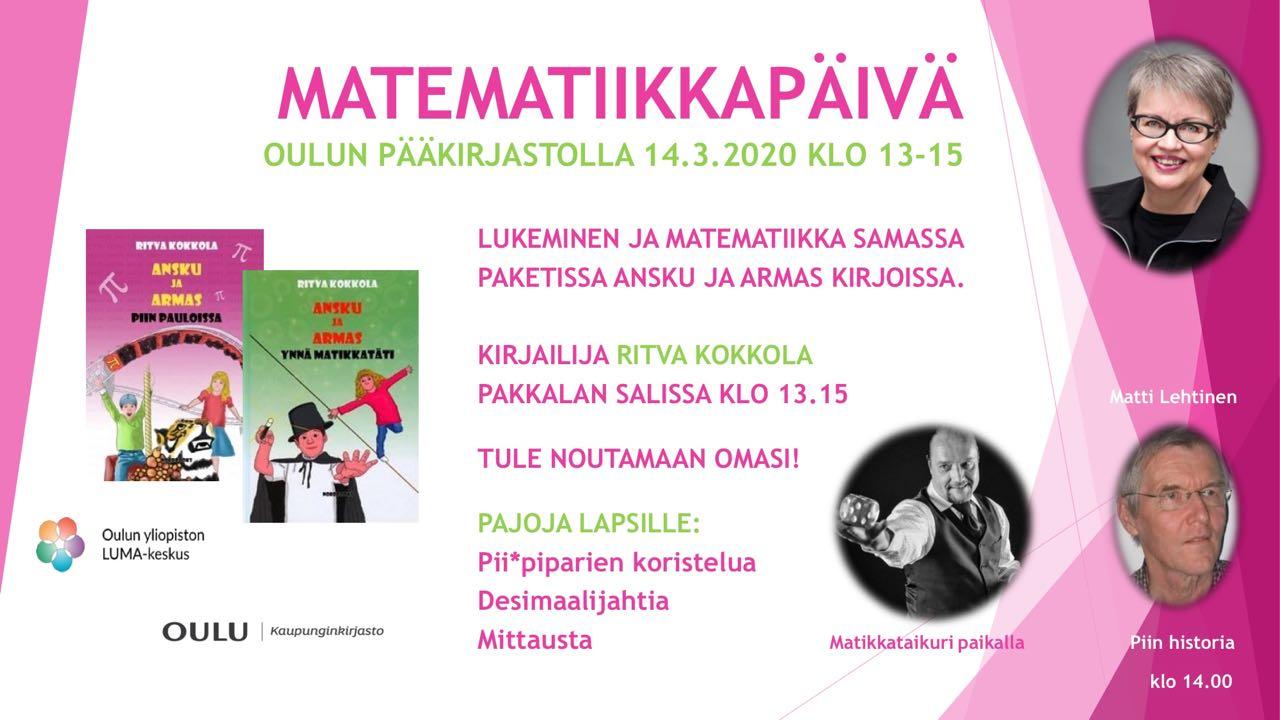Matematiikkapäivä 14.3.2020 Oulun pääkirjastolla PERUTTU!